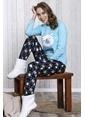 Lingabooms Kutup Ayılı Kadın 2'li Pijama Takım  Mavi